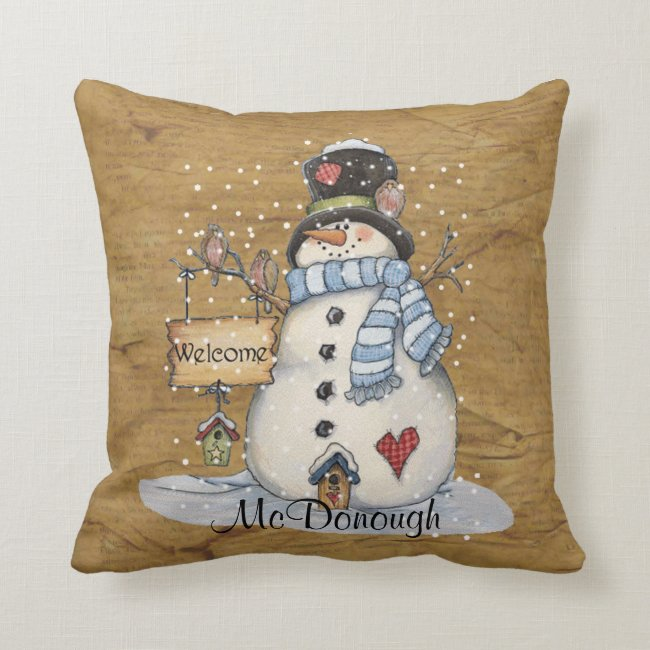 Folk Art Snowman on Old Newspaper Throw Pillow