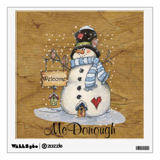 Folk Art Snowman on Old Newspaper Wall Decals