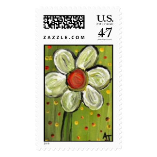 Folk Art Spring Daisy - postage stamp