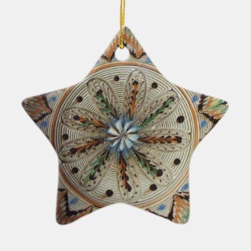 Folk Art Star Flowers Double-Sided Star Ceramic Christmas Ornament