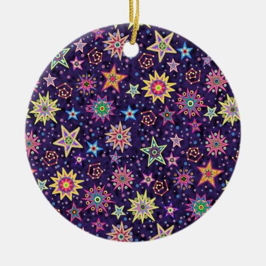 Folk Art Starry Sky Ceramic Ornament