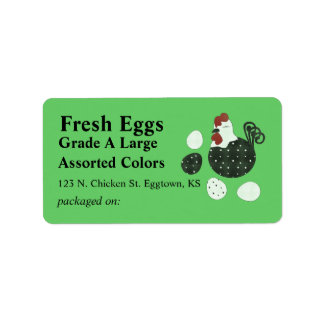 Folk Art Style Chicken Egg Label