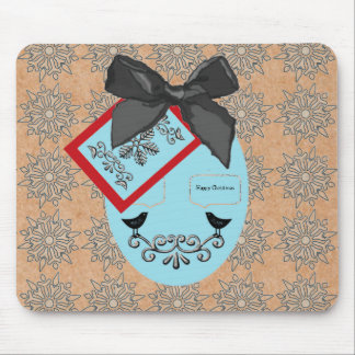 Folk Art Style Christmas Bauble And Bow Mouse Pad