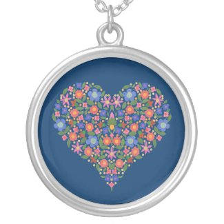 Folk Art Style Floral Heart Blue Round Necklace