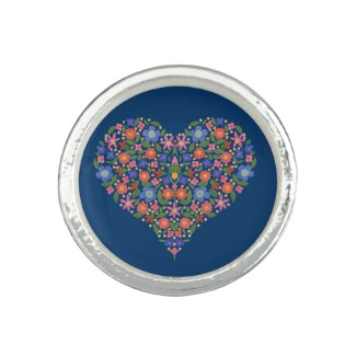 Folk Art Style Floral Heart Blue Round Ring