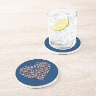 Folk Art Style Floral Heart Blue Sandstone Coaster