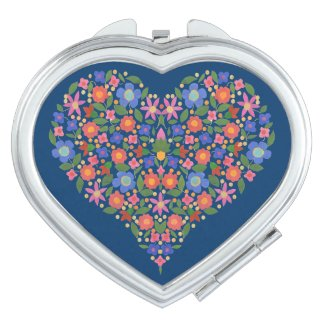 Folk Art Style Floral Heart on Blue Compact Mirror