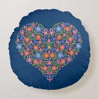 Folk Art Style Floral Heart on Blue Throw Pillow Round Pillow