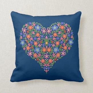 Folk Art Style Floral Heart on Moody Blue Pillow