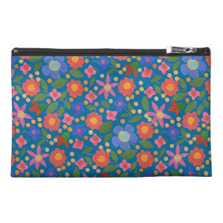 Folk Art Style Floral on Blue Accessories Bag
