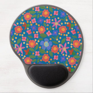 Folk Art Style Floral on Blue Gel Mousepad