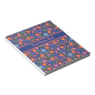 Folk Art Style Floral on Blue Notepad or Jotter