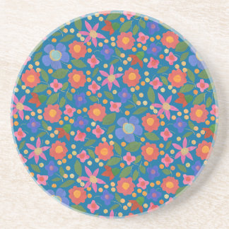 Folk Art Style Floral on Blue Sandstone Coaster
