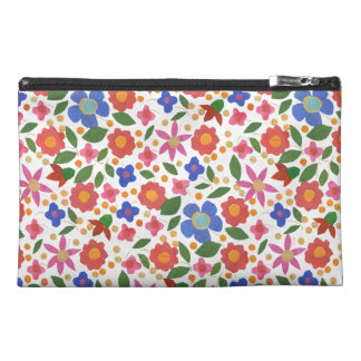 Folk Art Style Floral on White Accessories Bag