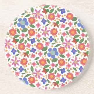 Folk Art Style Floral on White Sandstone Coaster