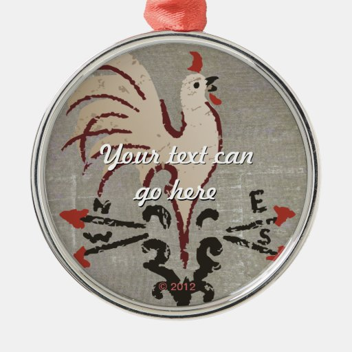 Folk Art Style Rooster Christmas Tree Ornaments
