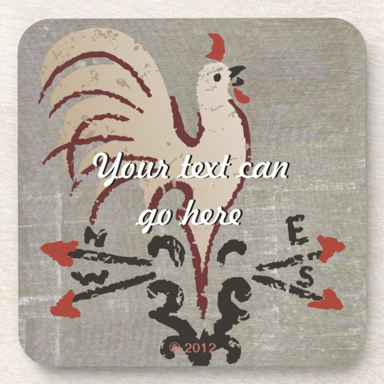 Folk Art Style Rooster Coaster