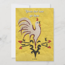 Folk Art Style Rooster Invitation
