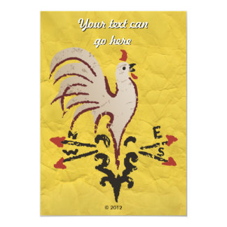 Folk Art Style Rooster 5x7 Paper Invitation Card