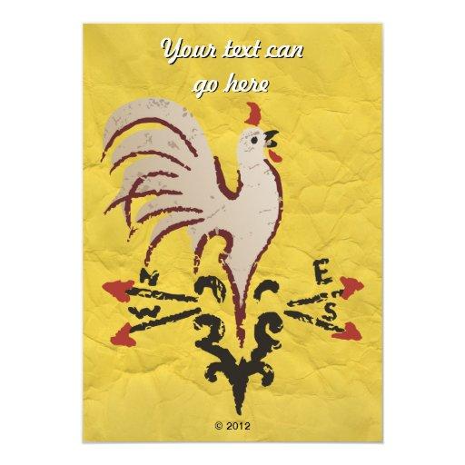 Folk Art Style Rooster Invites