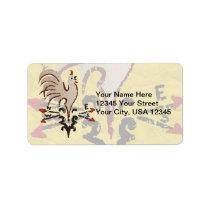 Folk Art Style Rooster Label