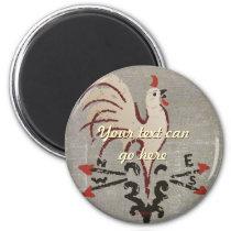Folk Art Style Rooster Magnet