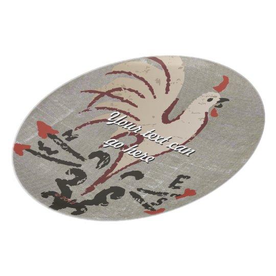 Folk Art Style Rooster Melamine Plate