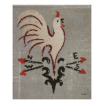 Folk Art Style Rooster Poster