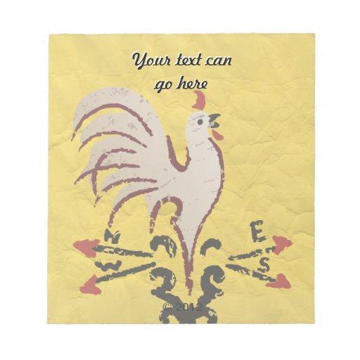 Folk Art Style Rooster Scratch Pad