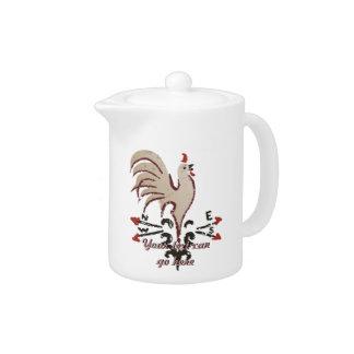 Folk Art Style Rooster Teapot