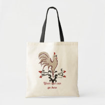 Folk Art Style Rooster Tote Bag