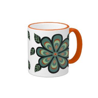 Folk Art Teal and Peach Flower Mug