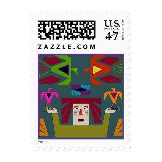 Folk Art Thunderbirds Native American Birds Stamp