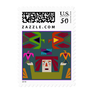 Folk Art Thunderbirds Native American Birds Stamp