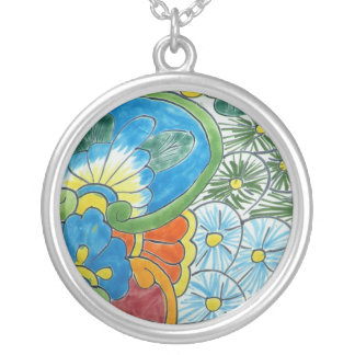 Folk Art Tile Silver Plated Necklace