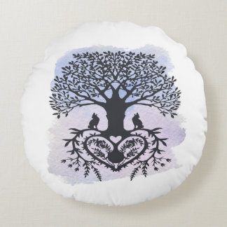 Folk Art Tree of Life Round Pillow