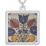Folk Art Tulips Square Pendant Necklace