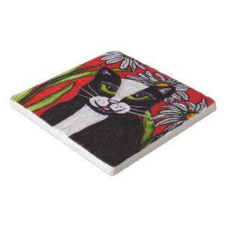 Folk Art Tuxedo Cat Daisies Trivet