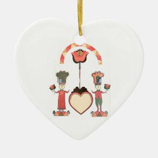 Folk Art Wedding Christmas Ornament