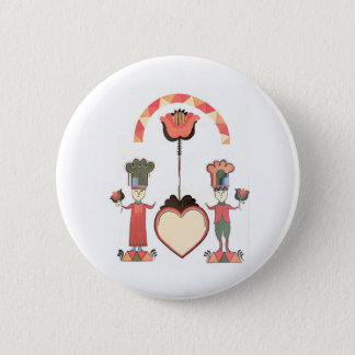 Folk Art Wedding Pinback Button