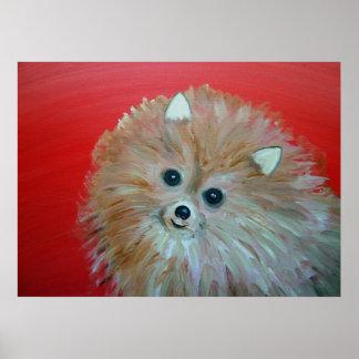 Folk Art Whimsical Pomeranian Painting Poster