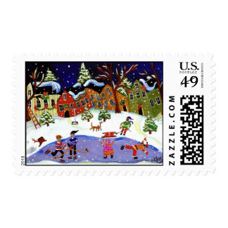 Folk Art Winter Fun Postage