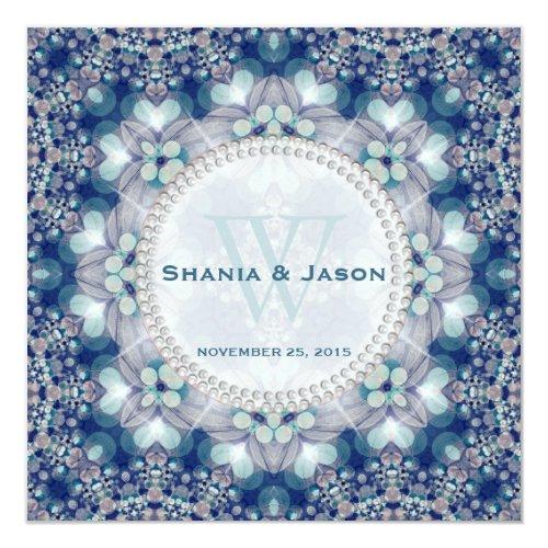 Folk + Bohemian Magic Navy Blue Wedding Invitation