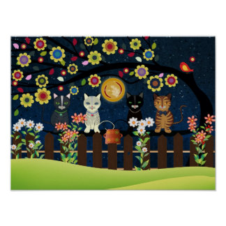 Folk Cats Sitting On A Brunch, Poster