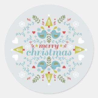 Folk Christmas Cheer Classic Round Sticker