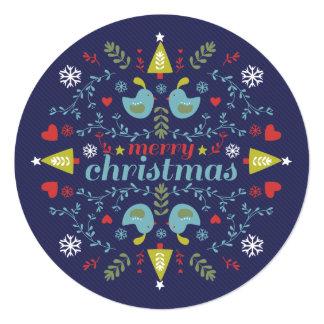 Folk Christmas Cheer Navy Card