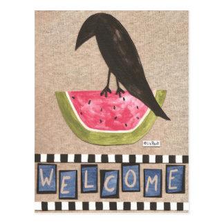 Folk Crow on Watermelon Postcard