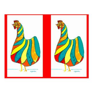 Folk Dancer Hen x2 Postcard