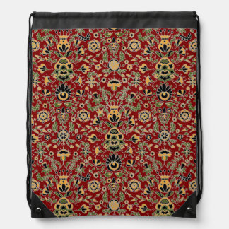 Folk Embroidery Yellow, Green, Black on Deep Red Drawstring Bag
