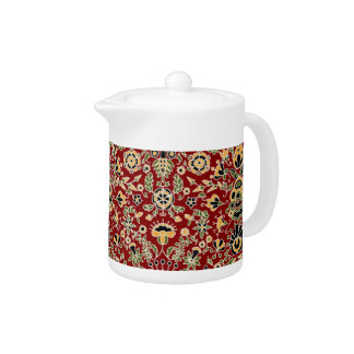 Folk Embroidery Yellow, Green, Black on Deep Red Teapot